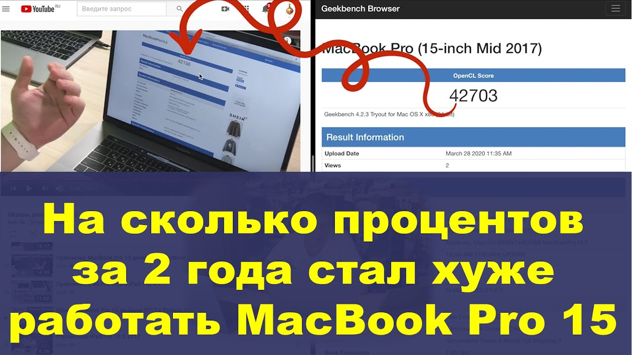 На сколько процентов за 2 года стал хуже работать MacBook Pro 15 2017?