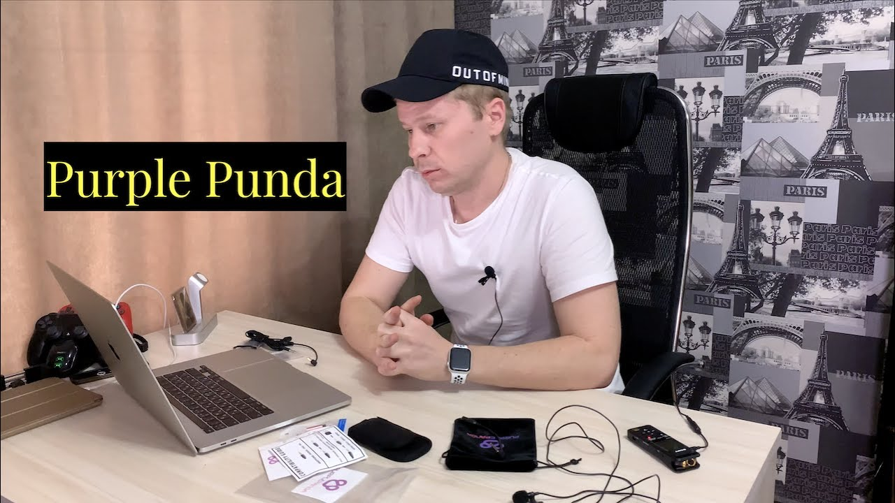 Петличка микрофон Purple Punda распаковка